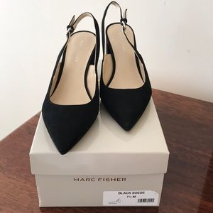Marc Fisher black suede sling back heels.